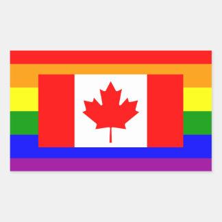 Bandera del orgullo gay de LGBT Canadá Rectangular Pegatina