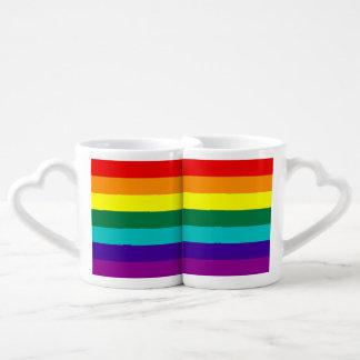 Bandera del orgullo gay del arco iris de 7 rayas tazas para parejas