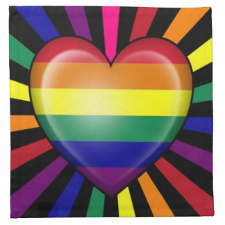 Bandera del orgullo gay del corazón del arco iris  servilleta