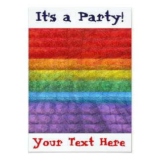 Bandera del orgullo gay del mosaico del arco iris invitacion personal