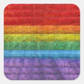 Bandera del orgullo gay del mosaico del arco iris pegatina cuadrada