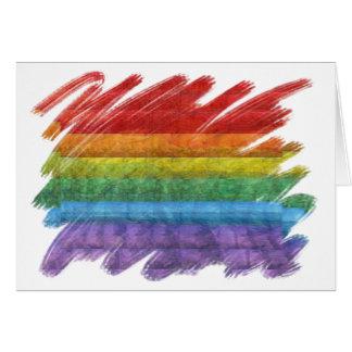 Bandera del orgullo gay del mosaico del arco iris tarjeta de felicitación