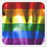Bandera del orgullo gay pegatina cuadrada