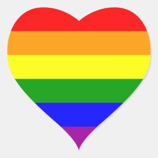 Bandera del orgullo gay pegatina en forma de corazón