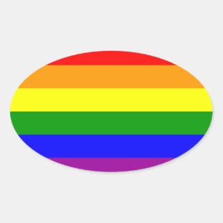 Bandera del orgullo gay pegatina ovalada