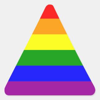 Bandera del orgullo gay pegatina triangular