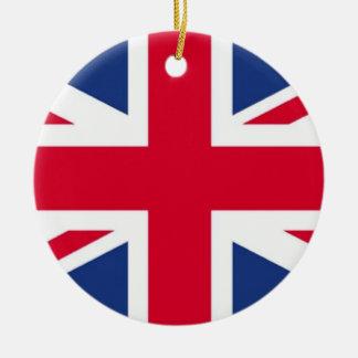 Bandera del ornamento de Reino Unido Adorno Navideño Redondo De Cerámica