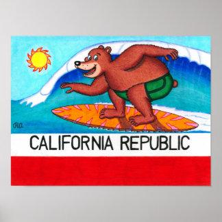 Bandera del oso de California que practica surf Póster