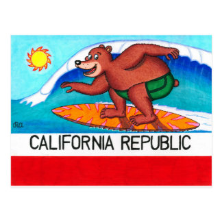 Bandera del oso de California que practica surf Postal