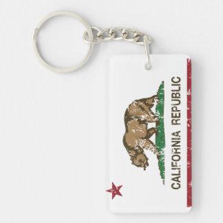 Bandera del oso de la república de California Llavero Rectangular Acrílico A Doble Cara