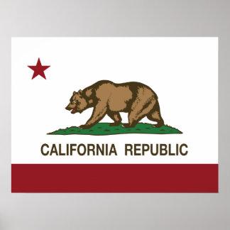 Bandera del oso de la república de California Posters