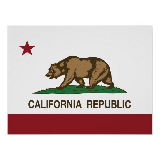 Bandera del oso de la república de California Póster
