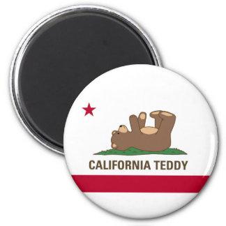 Bandera del oso de peluche de California Imán Redondo 5 Cm