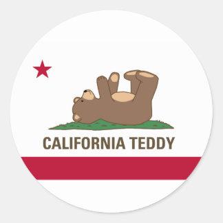 Bandera del oso de peluche de California Pegatina Redonda