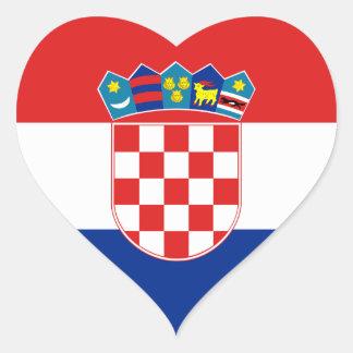 Bandera del pegatina de Croacia (corazón)