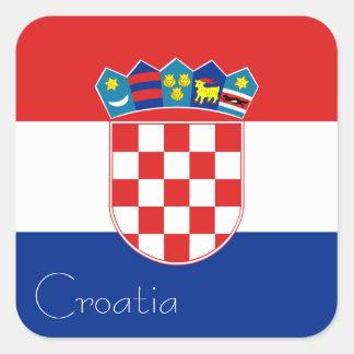 Bandera del pegatina de Croacia (cuadrado)