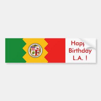 ¡Bandera del pegatina de Los Ángeles, feliz cumple Pegatina Para Auto