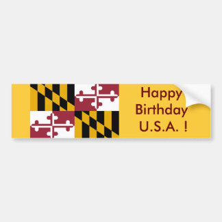 ¡Bandera del pegatina de Maryland, feliz cumpleaño Pegatina Para Auto
