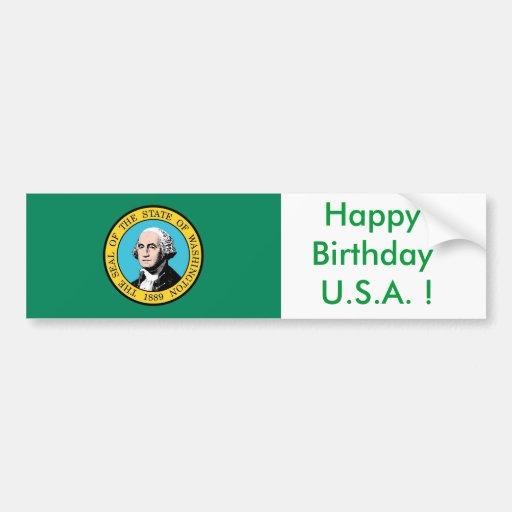 ¡Bandera del pegatina de Washington, feliz cumplea Pegatina Para Auto