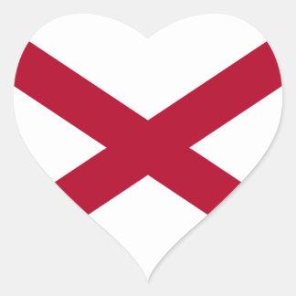 Bandera del pegatina del corazón de Alabama