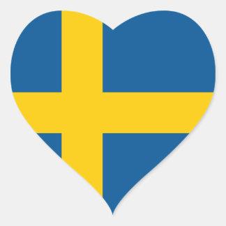Bandera del pegatina del corazón de Suecia