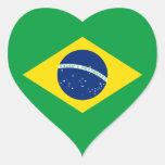 Bandera del pegatina del corazón del Brasil