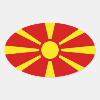 Bandera del pegatina del óvalo de Macedonia