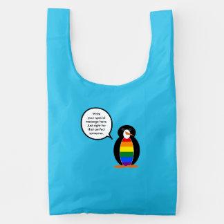 Bandera del pingüino del orgullo gay que habla bolsa reutilizable