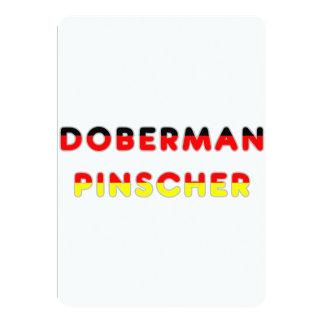bandera del pinscher del doberman en nombre invitación personalizada