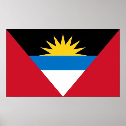 Bandera del poster de Antigua y de Barbuda Póster