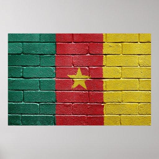 Bandera del poster del Camerún