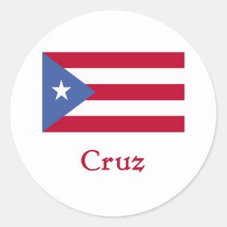 Bandera del puertorriqueño de Cruz Pegatina Redonda