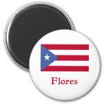 Bandera del puertorriqueño de Flores Imán Redondo 5 Cm
