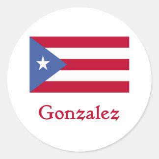 Bandera del puertorriqueño de Gonzalez Pegatina Redonda