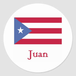 Bandera del puertorriqueño de Juan Pegatina Redonda
