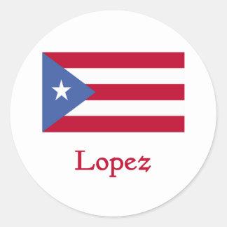 Bandera del puertorriqueño de López Pegatina Redonda