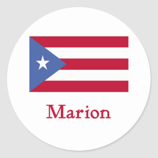 Bandera del puertorriqueño de Marion Pegatina Redonda