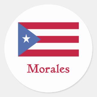 Bandera del puertorriqueño de Morales Pegatina Redonda