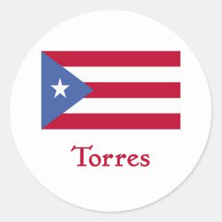 Bandera del puertorriqueño de Torres Pegatina Redonda