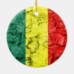 Bandera del rasta del vintage adorno navideño redondo de cerámica