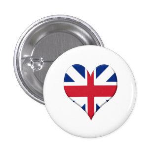Bandera del Reino Unido con forma de Corazón. Pins