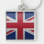 Bandera del Reino Unido Llavero Cuadrado Plateado
