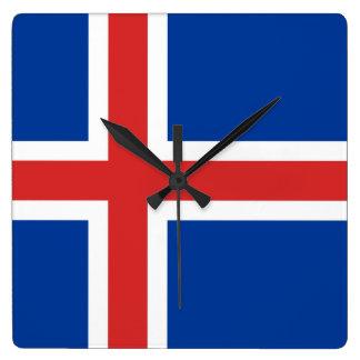 Bandera del reloj de pared de Islandia