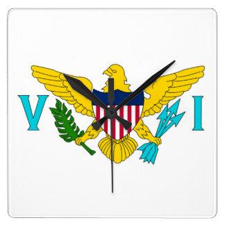 Bandera del reloj de pared de las Islas Vírgenes d