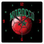 Bandera del reloj del balón de fútbol de Marruecos