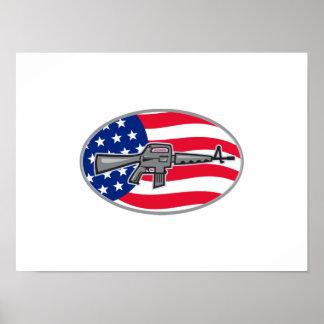 Bandera del rifle de asalto del potro AR-15 de Arm Póster