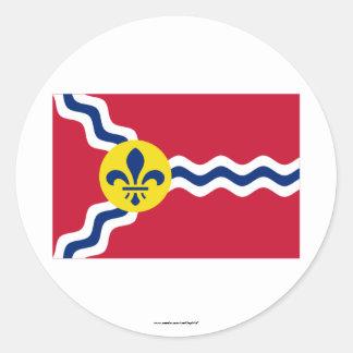Bandera del Saint Louis Etiqueta Redonda