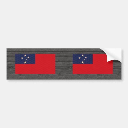 Bandera del samoano del modelo del vintage pegatina de parachoque