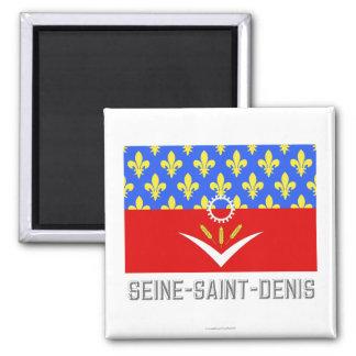 Bandera del Seine-Saint-Denis con nombre Imanes De Nevera