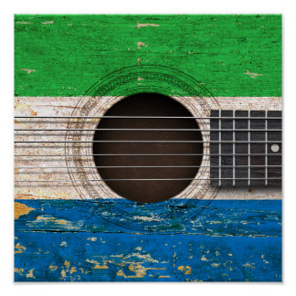 Bandera del Sierra Leone en la guitarra acústica Poster